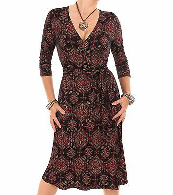 New Red and Black Paisley Print Wrap Dress - Knee Length