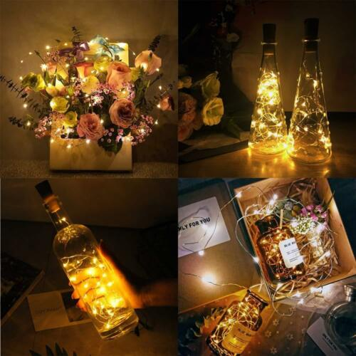 10-50 LED Wine Bottle Cork Fairy Light Warm Cool White Multi-Color Xmas Party SY
