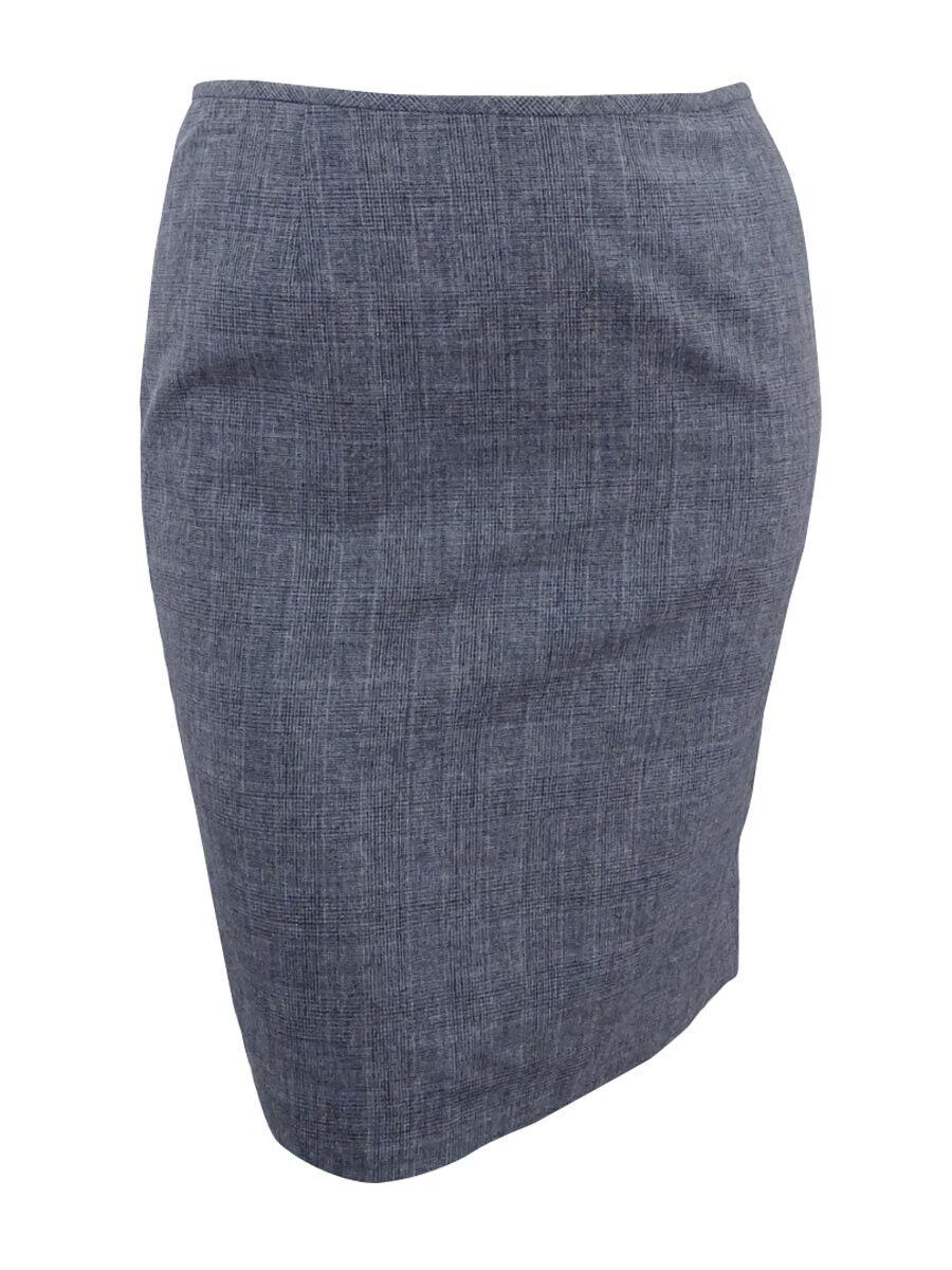 Le Suit Women's Glen Plaid Skirt 8, Grey