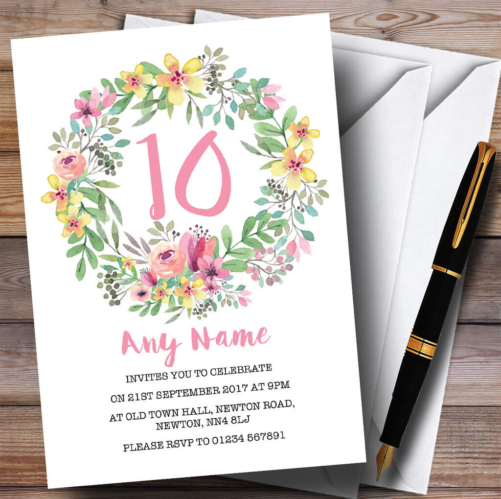 Watercolour Floral Wreath Pink 10th Personalised Birthday Party Invitations