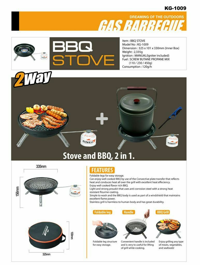 KOVEA 2 WAY GAS BARBEQUE GRILL & STOVE    BURNER (KG-1009) - BRAND NEW  the best online store offer