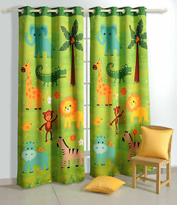 Yuga Blackout Door / Window Curtain Eyelet Jungle Safari Kids ...