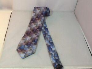 Van-Heusen-Men-039-s-Necktie-Blue-Gray-Mini-Squares-100-Silk