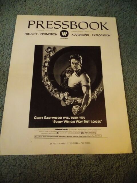 EVERY WHICH WAY BUT LOOSE(1978)CLINT EASTWOOD ORIGINAL PRESSBOOK & AD MAT