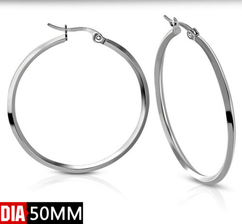 1Paar Damen Edelstahl Creolen Ohrstecker Ohrhänger Vierkantstecker 40,50,55mm