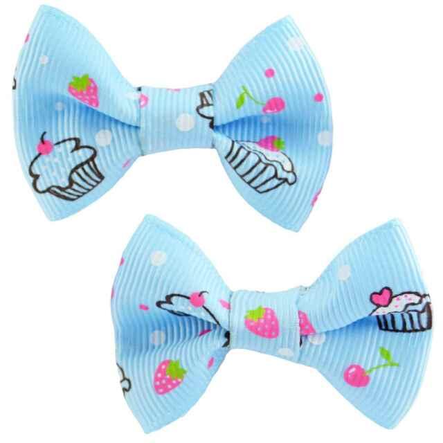 Cupcake Hair Clips Blue Bows Barrettes Rockabilly Pin Up Cute Retro Kawaii