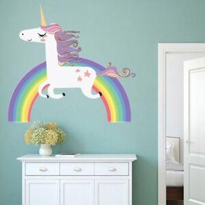 b625504f0ba Image is loading Unicorn-Rainbow-Star-Wall-Decal-Removable-Sticker-Girls-