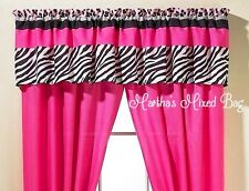 "SAFARI JUNGLE Girls Teen PINK Black & White ZEBRA PRINT Window VALANCE 16""x 84"