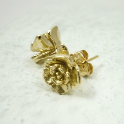 Artisan Solid 10K Yellow Gold Stud Earrings Handcarved Rose Flower 2.8 grams