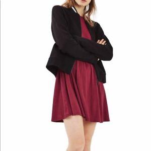 101f8c14c90 Topshop Tie Back Skater Dress Size 6 Long Sleeve Burgundy Red Ribbed ...