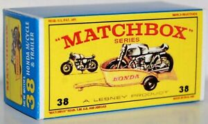 Matchbox-Lesney-No-38-HONDA-MOTORCYCLE-AND-TRAILER-Empty-Repro-Box-style-E