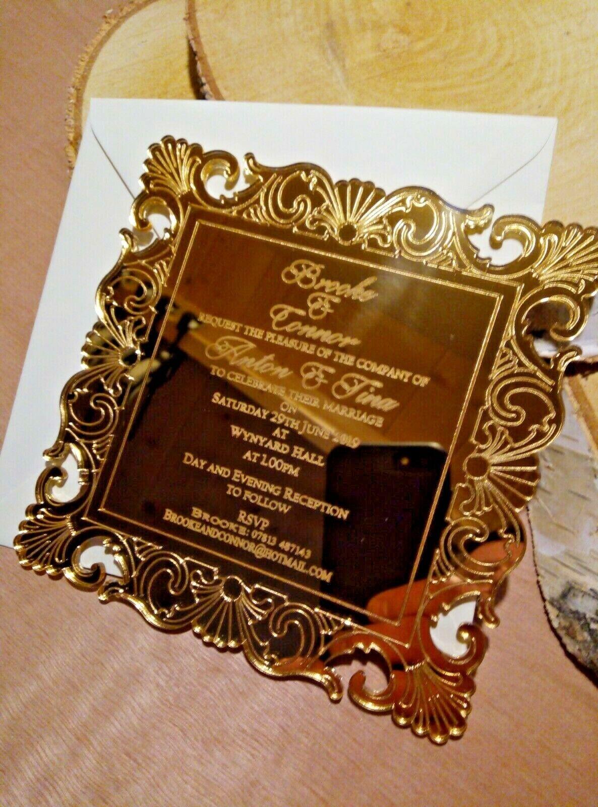 50 Luxe Miroir D'or Mariage Invitations Avec Enveloppes