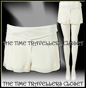 Kate-Moss-Topshop-Satin-Trim-Cream-Ivory-Crepe-Lined-Hot-Pants-Shorts-UK-10-12
