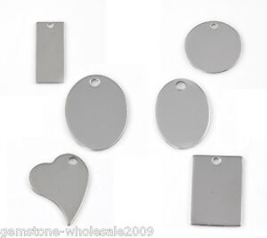 Wholesale W09 Silver Tone Stainless Steel Tags Pendants 24x17mm-38x16mm
