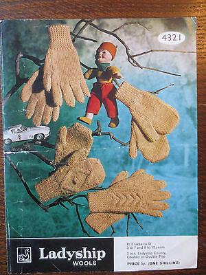 VINTAGE LADYSHIP Knitting Pattern CHILDRENS GLOVES Mittens 2 sizes 1970s