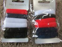 2 x pack 6 girls hair ponios 3cm fabric ponio small bobbles school elastic band