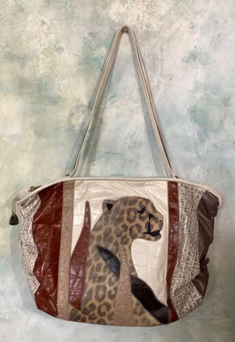 Vintage 80's White Leather Patchwork Leopard Purse