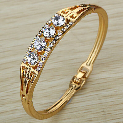 Gold Plated Crystal Bracelet Rhinestone Bangle Cuff wedding Party Birthday jewel