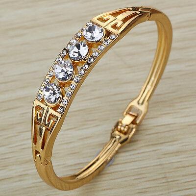 Gold Plated Crystal Bracelet Rhinestone Bangle Cuff wedding Party Birthday jewel