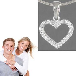 1 kleiner Damen Zirkonia Herz Partner Anhänger + 42cm Kette Echt Silber 925 NEU