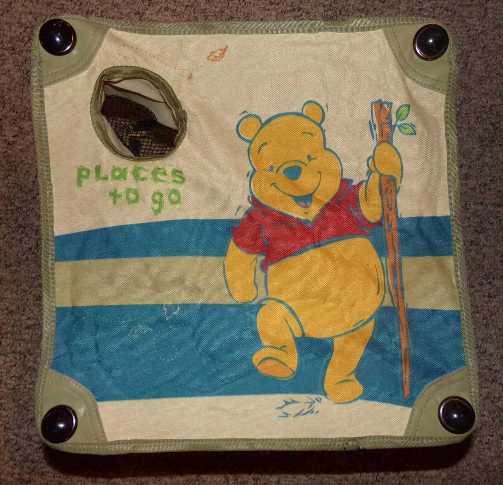 Vintage Winnie the Pooh Canvas Leather Camp Lawn Folding Chair Stool EUC