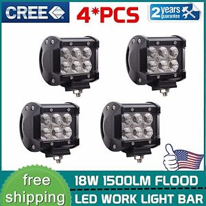 4X-4-039-039-inch-18W-Flood-CREE-Pods-Led-Work-Light-Off-Road-SUV-UTE-Jeep-Driving-Lamp
