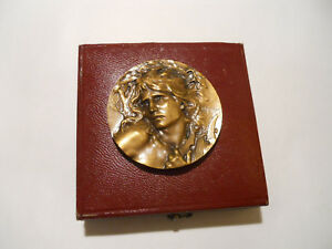 Details about 1899 FRENCH MUSIC CLASSIC ART NOUVEAU BRONZE AWARD MEDAL  ORPHEUS CASED