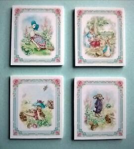 Set 4 Pretty Peter Rabbit Photos/wall Art Pour Maison De Poupées/room Box Nursery-afficher Le Titre D'origine éLéGant Et Gracieux
