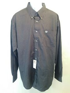 Cinch-Long-Sleeve-Button-Up-Western-Shirt-Mens-XL-Regular-Gray-New-With-Tags