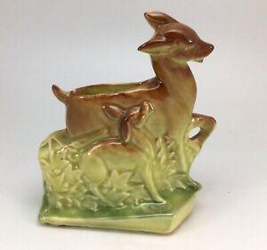 """Vintage McCoy USA Deer Fawn Art Pottery Brown Green Bud Vase Planter 7.5"""" Glazed"""