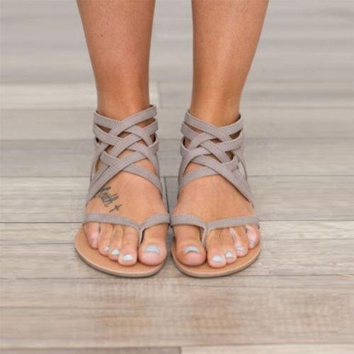Damen Flache Gladiator Sommerschuhe Sandalen Freizeit Flip Flop Schuhe 38 40 42