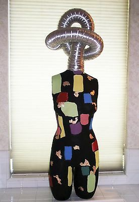 HAND PAINTED DECORATED FEMALE DRESS FORM TORSO MANNEQUIN