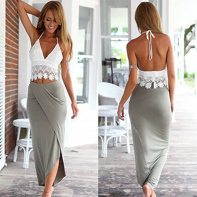 2015 Lady Womens Bodycon Slim Bandage Two Piece Crop Tops and Skirt Dress Set El