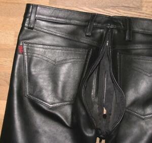 R-amp-Co-RoB-Herren-LEDERJEANS-Lederhose-mit-PO-Zipper-schwarz-ca-W37-034-L35-034