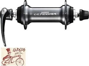 SHIMANO-6800-ULTEGRA-32H-QUICK-RELEASE-AXLE-GRAY-ROAD-BICYCLE-FRONT-HUB
