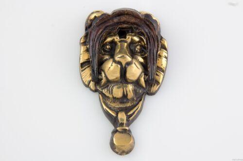 Vintage Antique Victorian Georgian Solid Brass Lion Head Mane Face Door Knocker