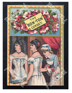 Historic-Bon-Ton-039-corset-The-Worcester-Corset-Co-1875-Advertising-Postcard