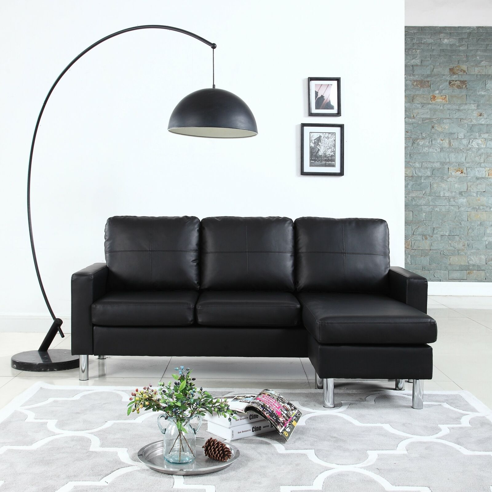 Modern Black And Red Leather Sectional Sofa For Sale Online Ebay