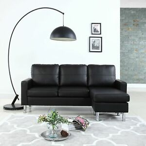 Modern-Bonded-Leather-Sectional-Sofa-Small-Space-Adjustable-Couch-Black