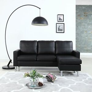 Modern Faux Leather Sectional Sofa - Small Space Adjustable Couch - Black