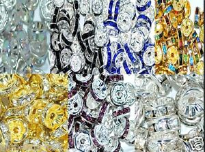 100-50pcs-A-glass-rhinestone-rondelle-spacer-beads-various-colors-and-sizes