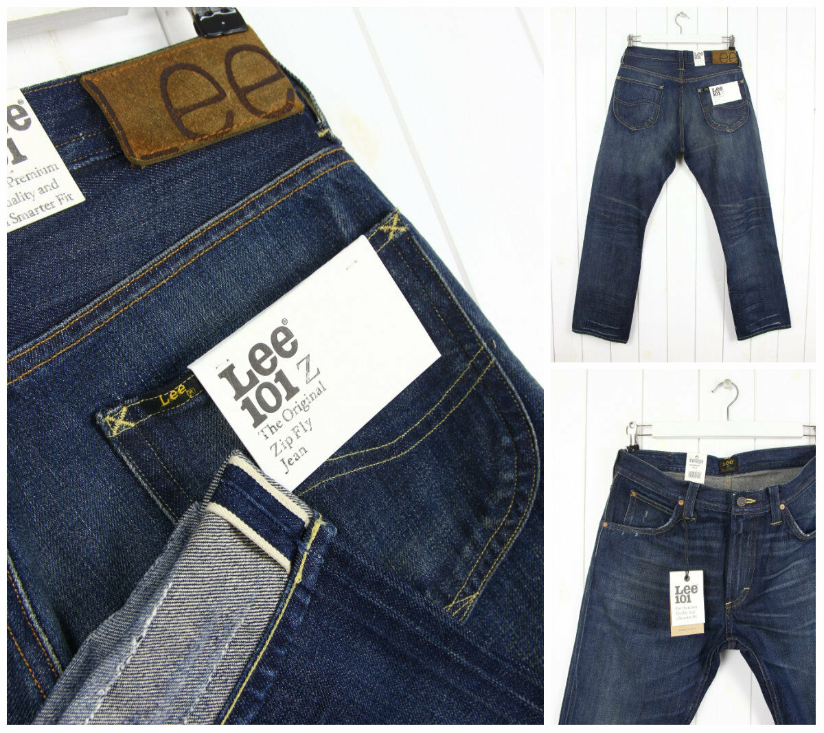 Nuovo Lee 101Z 101Z 101Z The Original Patta con Zip Jeans Cimossa Denim Gamba Dritta W33 ebc877
