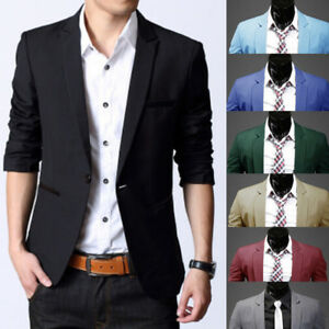 Fashion-Men-Casual-Slim-Fit-Formal-One-Button-Suit-Blazer-Coat-Jacket-Tops-NEW