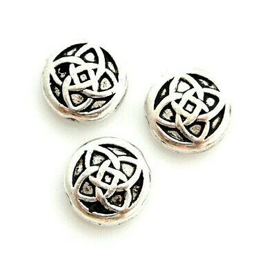 10 Antiqued Tibetan Silver 11x4mm Celtic Knot Bali Spacer Flat Round Coin Beads
