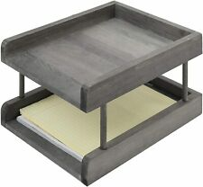 Rustic Grey Wood Paper File Organizer In Amp Out Desktop Document Holder Tray