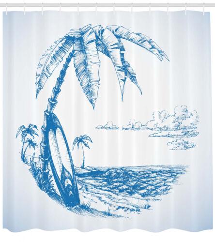 Sketch Illustration Hawaiian Sea and Surfboard Beach Decor Shower Curtain Set
