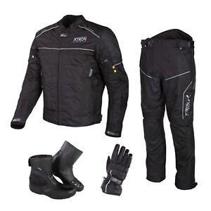 Black-Motorbike-Cordura-Jacket-Trouser-Waterproof-Motorcycle-Leather-Boots-Suit