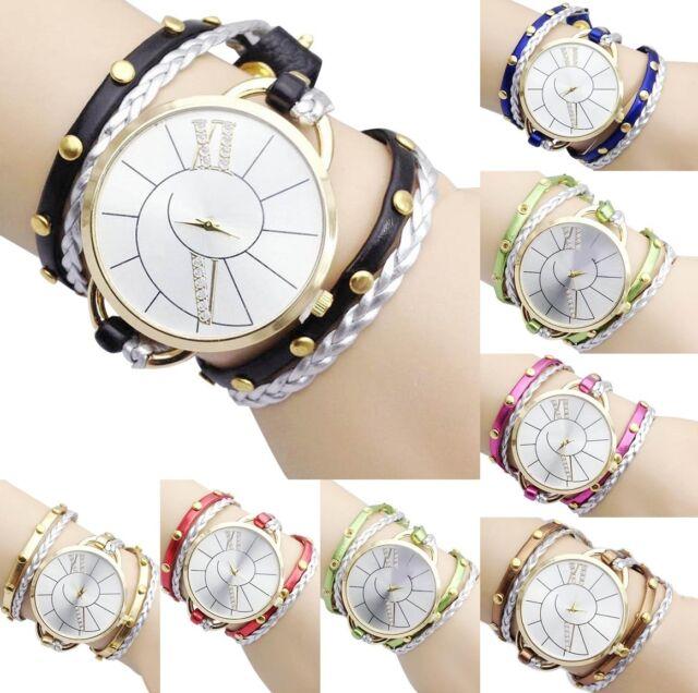 Fashion Women Crystal Big Dial Leather Bracelet Analog Quartz Dress Wrist Watch