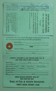 Details about 1981 Kentucky Dept of Fish & Wildlife Hunting License Permit  w/ Tag