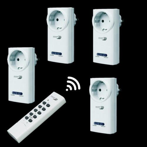 4 FUNKSTECKDOSEN à de Interrupteur Télécommande Radio Interrupteur Prises Connecteur
